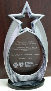 Moore Trosper Construction - BCBS Diverse Supplier Achievement Award